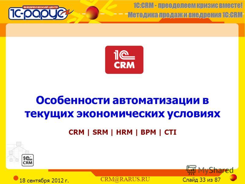 1C:CRM - преодолеем кризис вместе! Методика продаж и внедрения 1С:CRM Слайд 33 из 87 CRM@RARUS.RU 18 сентября 2012 г. Особенности автоматизации в текущих экономических условиях CRM | SRM | HRM | BPM | CTI