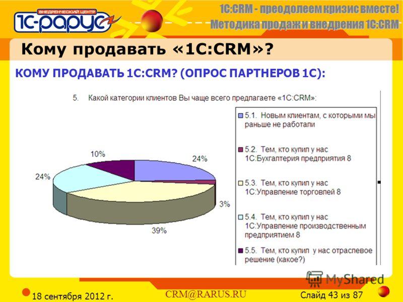 1C:CRM - преодолеем кризис вместе! Методика продаж и внедрения 1С:CRM Слайд 43 из 87 CRM@RARUS.RU 18 сентября 2012 г. КОМУ ПРОДАВАТЬ 1С:CRM? (ОПРОС ПАРТНЕРОВ 1С): Кому продавать «1C:CRM»?