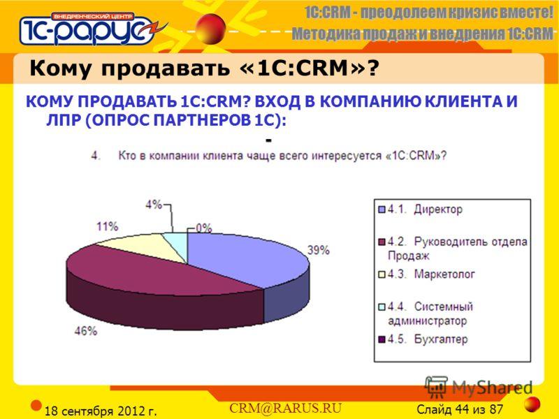 1C:CRM - преодолеем кризис вместе! Методика продаж и внедрения 1С:CRM Слайд 44 из 87 CRM@RARUS.RU 18 сентября 2012 г. КОМУ ПРОДАВАТЬ 1С:CRM? ВХОД В КОМПАНИЮ КЛИЕНТА И ЛПР (ОПРОС ПАРТНЕРОВ 1С): Кому продавать «1C:CRM»?