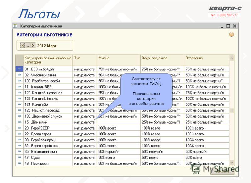 слайд 9 тел. 0 (800) 502 217 Льготы Соответствуют расчетам ГИОЦ. Произвольные категории и способы расчета