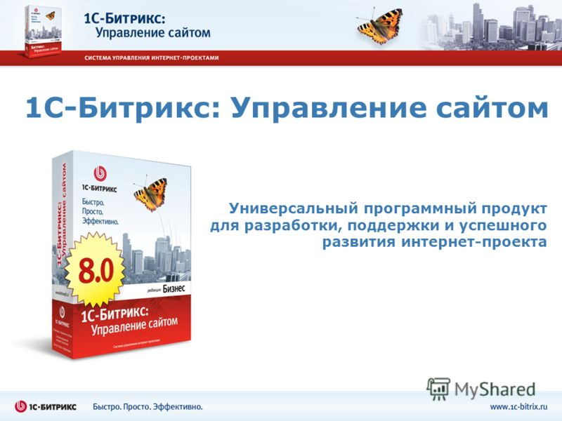 1С-Битрикс: Управление сайтом Универсальный программный продукт для разработки, поддержки и успешного развития интернет-проекта
