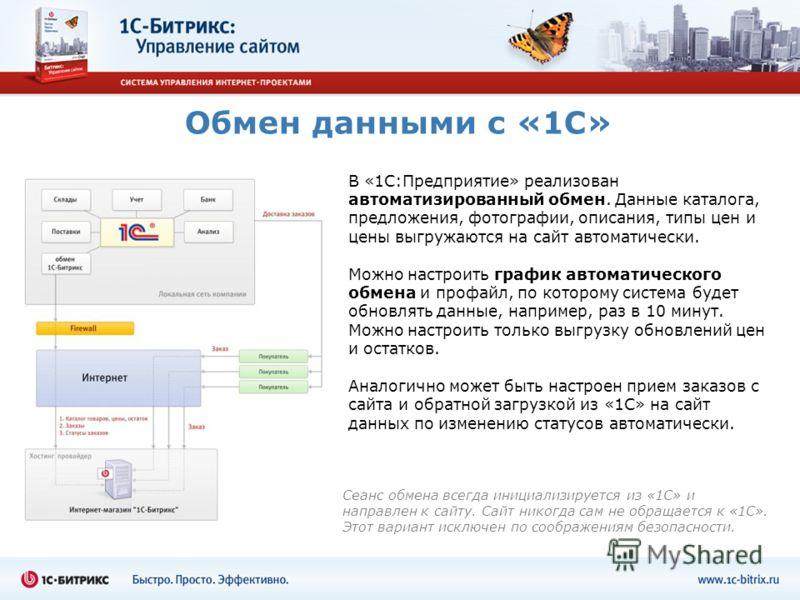 Обмен данными с «1С» В «1С:Предприятие» реализован автоматизированный обмен. Данные каталога, предложения, фотографии, описания, типы цен и цены выгружаются на сайт автоматически. Можно настроить график автоматического обмена и профайл, по которому с