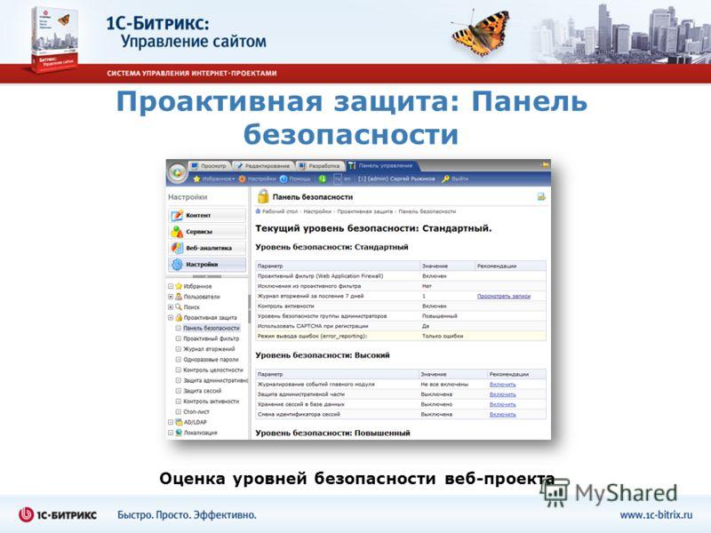 Проактивная защита: Панель безопасности Оценка уровней безопасности веб-проекта