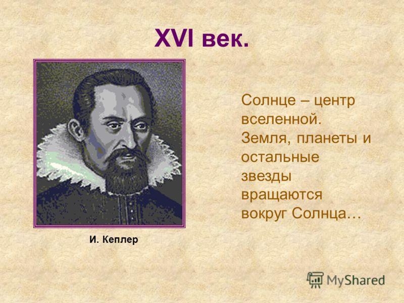 XVI век. Солнце – центр вселенной. Земля, планеты и остальные звезды вращаются вокруг Солнца… И. Кеплер