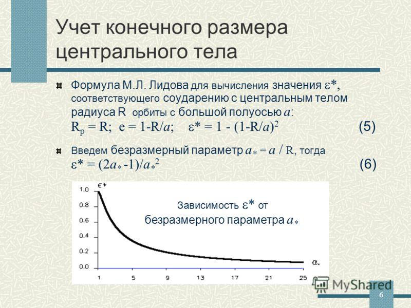 6 Учет конечного размера центрального тела Формула М.Л. Лидова для вычисления значения *, соответствующего соударению с центральным телом радиуса R орбиты с большой полуосью a : R p = R; e = 1-R/a; * = 1 - (1-R/a) 2 (5) Введем безразмерный параметр a