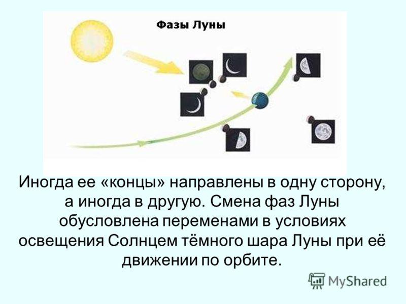Иногда ее «концы» направлены в одну сторону, а иногда в другую. Смена фаз Луны обусловлена переменами в условиях освещения Солнцем тёмного шара Луны при её движении по орбите.