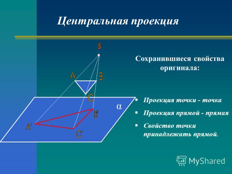 Сохранившиеся свойства оригинала: Проекция точки - точка Проекция прямой - прямая Свойство точки принадлежать прямой. Центральная проекция α