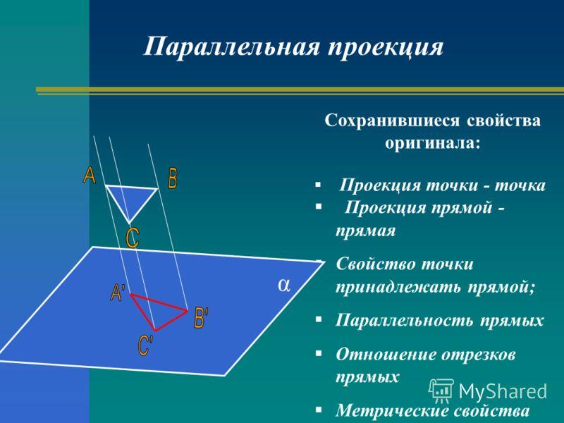 Сохранившиеся свойства оригинала: Проекция точки - точка Проекция прямой - прямая Свойство точки принадлежать прямой; Параллельность прямых Отношение отрезков прямых Метрические свойства Параллельная проекция α