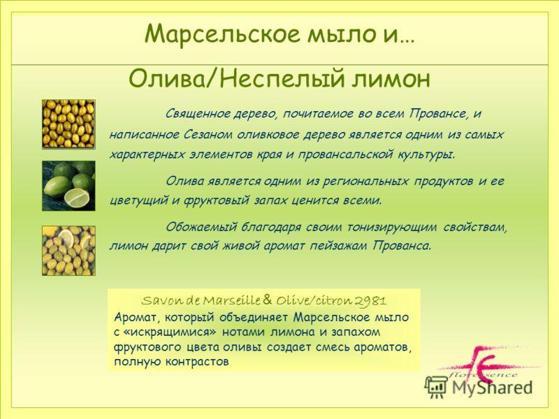Марсельское мыло и… Олива/Неспелый лимон. Священное дерево, почитаемое во всем Провансе, и написанное Сезаном оливковое дерево является одним из самых характерных элементов края и провансальской культуры. Олива является одним из региональных продукто