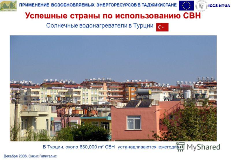ПРИМЕНЕНИЕ ВОЗОБНОВЛЯЕМЫХ ЭНЕРГОРЕСУРСОВ В ТАДЖИКИСТАНЕ Декабря 2006. Сакис Галигалис Солнечные водонагреватели в Турции В Турции, около 630,000 m 2 СВН устанавливаются ежегодно. Успешные страны по использованию СВН