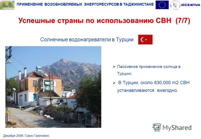 ПРИМЕНЕНИЕ ВОЗОБНОВЛЯЕМЫХ ЭНЕРГОРЕСУРСОВ В ТАДЖИКИСТАНЕ Декабря 2006. Сакис Галигалис Солнечные водонагреватели в Турции Пассивное применение солнца в Турции; В Турции, около 630,000 m2 СВН устанавливаются ежегодно. Успешные страны по использованию С