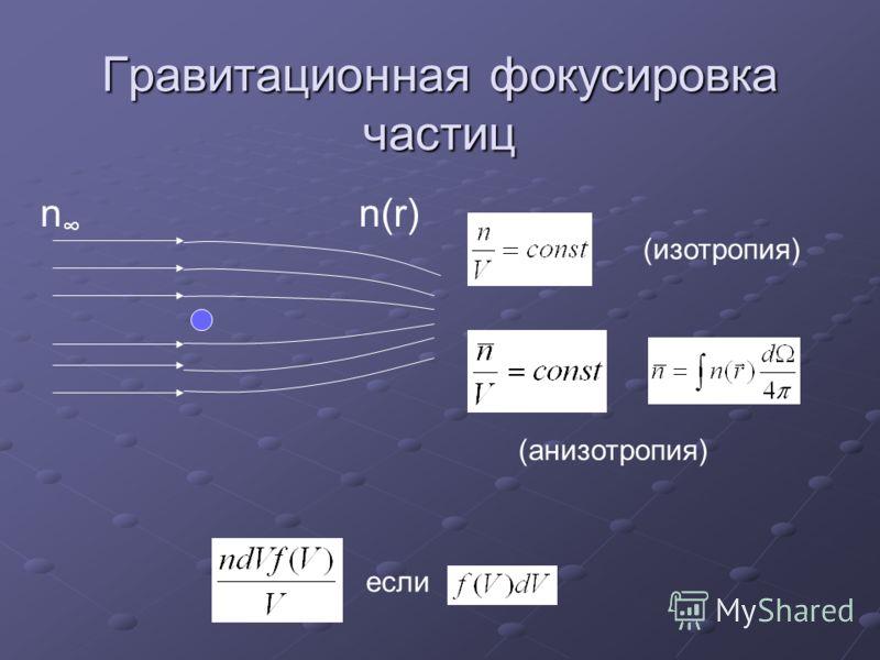 Гравитационная фокусировка частиц n n(r) (изотропия) (анизотропия) если