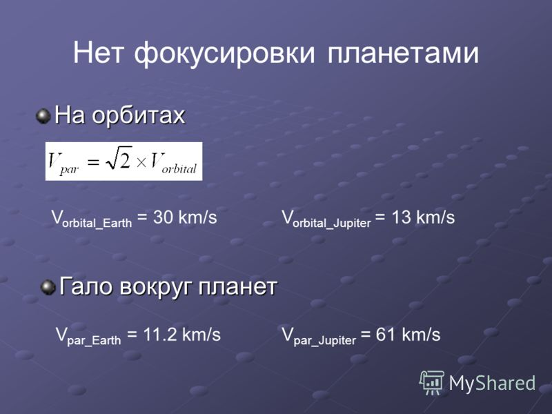 Нет фокусировки планетами На орбитах Гало вокруг планет V orbital_Earth = 30 km/sV orbital_Jupiter = 13 km/s V par_Earth = 11.2 km/sV par_Jupiter = 61 km/s