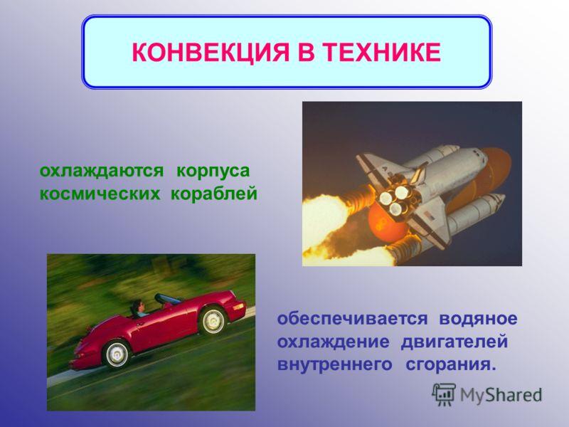 обеспечивается водяное охлаждение двигателей внутреннего сгорания. охлаждаются корпуса космических кораблей КОНВЕКЦИЯ В ТЕХНИКЕ