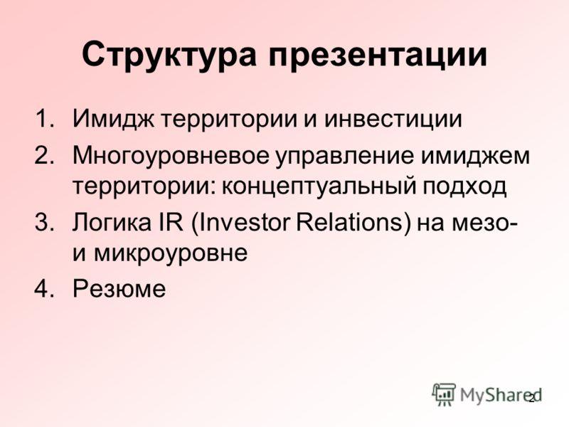 2 Структура презентации 1.Имидж территории и инвестиции 2.Многоуровневое управление имиджем территории: концептуальный подход 3.Логика IR (Investor Relations) на мезо- и микроуровне 4.Резюме