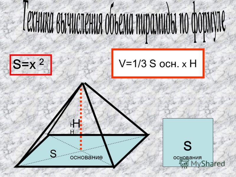 Н Н S основание V=1/3 S осн. X Н S основания S=x 2