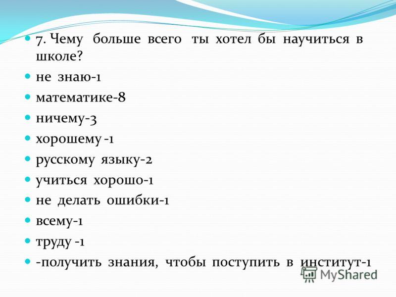 7. Чему больше всего ты хотел бы научиться в школе? не знаю-1 математике-8 ничему-3 хорошему -1 русскому языку-2 учиться хорошо-1 не делать ошибки-1 всему-1 труду -1 -получить знания, чтобы поступить в институт-1