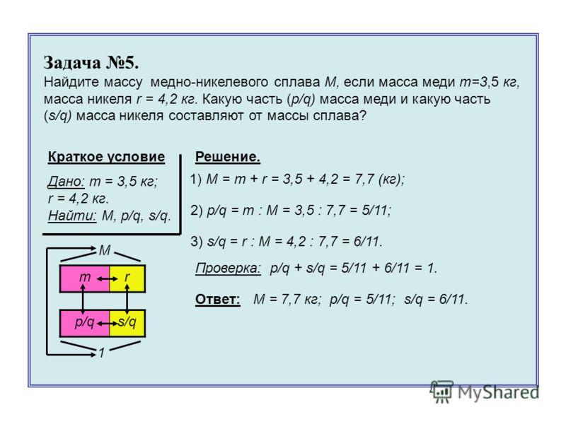 Решение. mr p/qs/q M 1 Задача 5. Найдите массу медно-никелевого сплава M, если масса меди m=3,5 кг, масса никеля r = 4,2 кг. Какую часть (p/q) масса меди и какую часть (s/q) масса никеля составляют от массы сплава? Краткое условие Дано: m = 3,5 кг; r