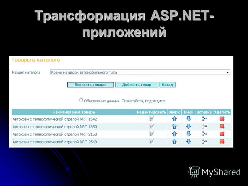 Трансформация ASP.NET- приложений