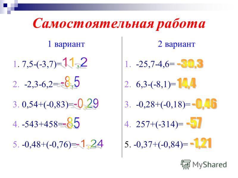 Самостоятельная работа 1 вариант2 вариант 1. 7,5-(-3,7)=1. -25,7-4,6= 2. -2,3-6,2=2. 6,3-(-8,1)= 3. 0,54+(-0,83)=3. -0,28+(-0,18)= 4. -543+458=4. 257+(-314)= 5. -0,48+(-0,76)=5. -0,37+(-0,84)=