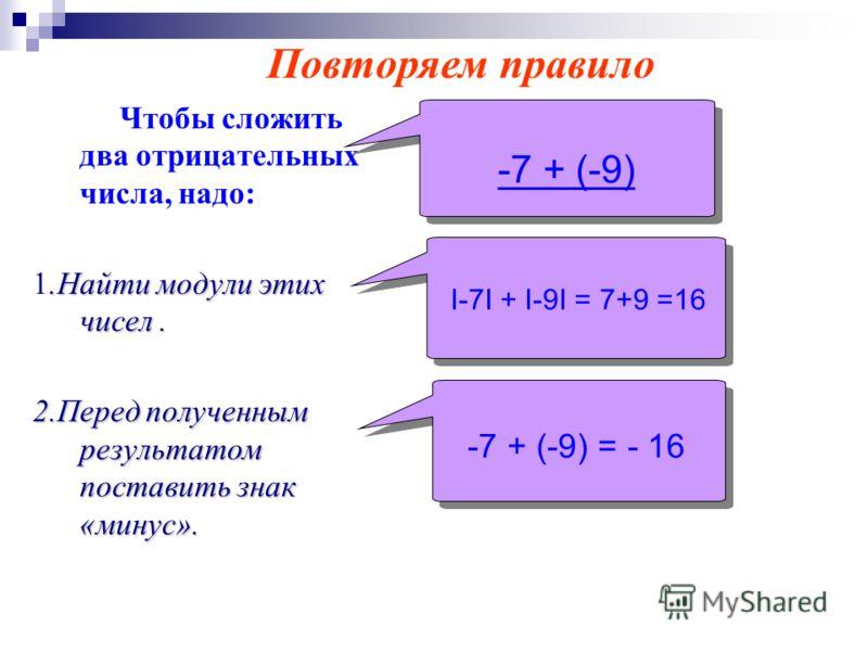 Чтобы сложить два отрицательных числа, надо:.Найти модули этих чисел. 1.Найти модули этих чисел. 2.Перед полученным результатом поставить знак «минус». -7 + (-9) I-7I + I-9I = 7+9 =16 -7 + (-9) = - 16 -7 + (-9) = - 16 Повторяем правило