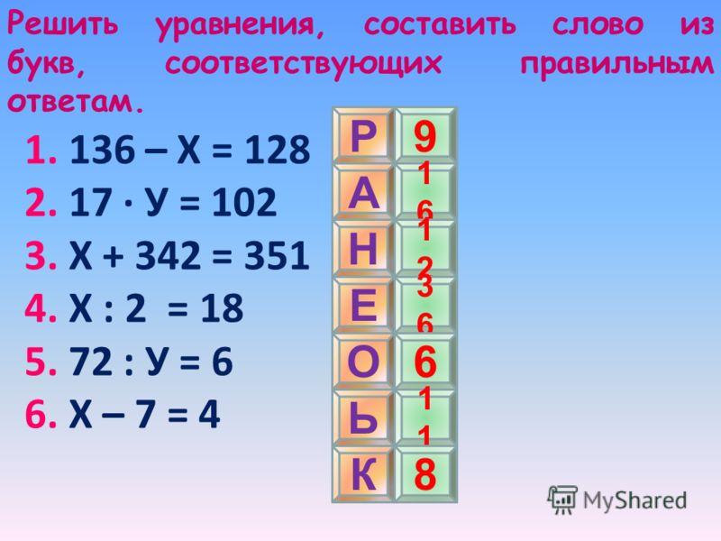 Решить уравнения, составить слово из букв, соответствующих правильным ответам. 1. 136 – Х = 128 2. 17 · У = 102 3. Х + 342 = 351 4. Х : 2 = 18 5. 72 : У = 6 6. Х – 7 = 4 Р А Н К Е О Ь 9 1616 1212 3636 6 1 8