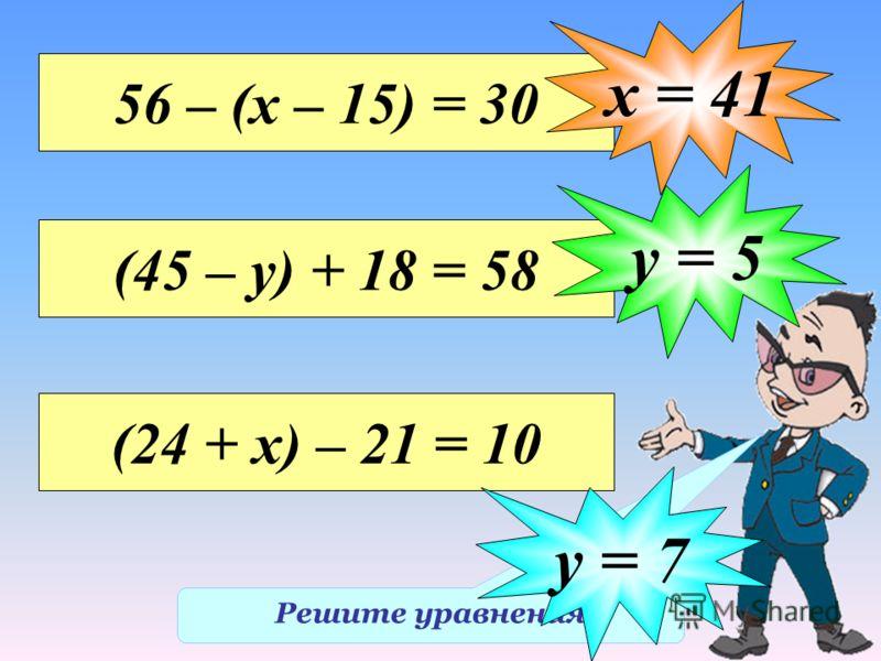 Решите уравнения 56 – (х – 15) = 30 х = 41 (45 – у) + 18 = 58 у = 5 (24 + х) – 21 = 10 у = 7