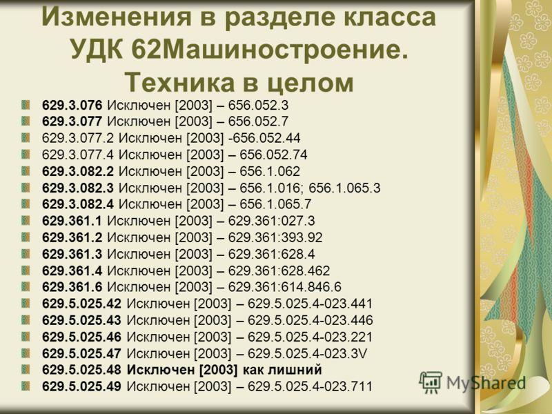 Изменения в разделе класса УДК 62Машиностроение. Техника в целом 629.3.076 Исключен [2003] – 656.052.3 629.3.077 Исключен [2003] – 656.052.7 629.3.077.2 Исключен [2003] -656.052.44 629.3.077.4 Исключен [2003] – 656.052.74 629.3.082.2 Исключен [2003]