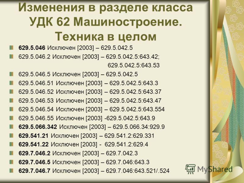 Изменения в разделе класса УДК 62 Машиностроение. Техника в целом 629.5.046 Исключен [2003] – 629.5.042.5 629.5.046.2 Исключен [2003] – 629.5.042.5:643.42; 629.5.042.5:643.53 629.5.046.5 Исключен [2003] – 629.5.042.5 629.5.046.51 Исключен [2003] – 62