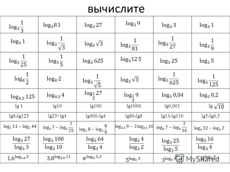вычислите lg 1lg10lg100lg1000lg0,001lg lg8-lg125lg25+lg4lg400-lg4lg80-lg8lg13-lg130lg5-lg0,5