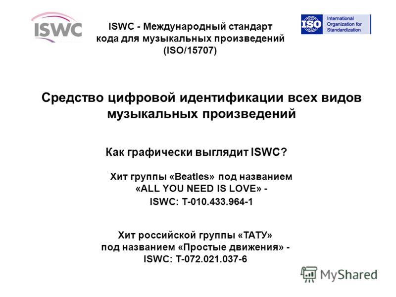 ISWC - Международный стандарт кода для музыкальных произведений (ISO/15707) Средство цифровой идентификации всех видов музыкальных произведений Как графически выглядит ISWC? Хит группы «Beatles» под названием «ALL YOU NEED IS LOVE» - ISWC: T-010.433.