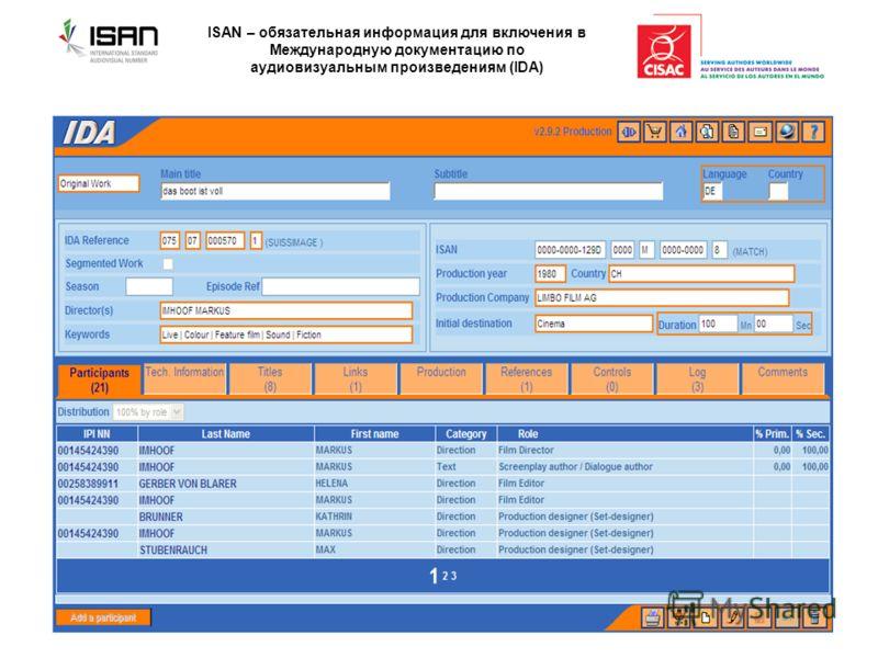 ISAN – обязательная информация для включения в Международную документацию по аудиовизуальным произведениям (IDA)
