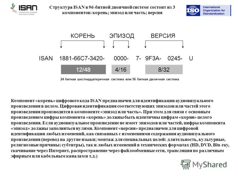 1881-66C7-3420- ISAN0000- 7- 9F3A- U 0245- КОРЕНЬЭПИЗОДВЕРСИЯ 12/484/168/32 24 битная шестнадцатеричная система или 96 битная двоичная система Структура ISAN в 96-битной двоичной системе состоит из 3 компонентов: корень; эпизод или часть; версия Комп