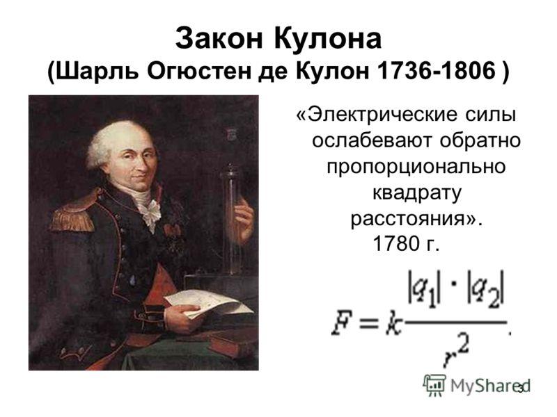 3 Закон Кулона (Шарль Огюстен де Кулон 1736-1806 ) «Электрические силы ослабевают обратно пропорционально квадрату расстояния». 1780 г.