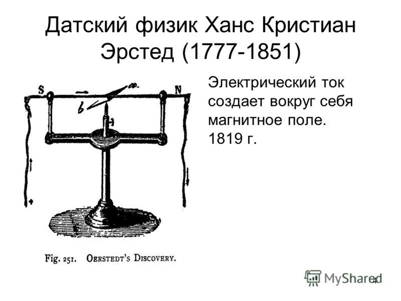 4 Датский физик Ханс Кристиан Эрстед (1777-1851) Электрический ток создает вокруг себя магнитное поле. 1819 г.