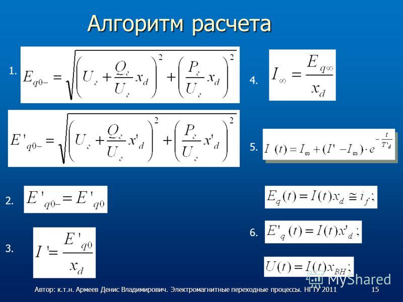 Алгоритм расчета 1. 2. 3. 4. 5. 6. 15Автор: к.т.н. Армеев Денис Владимирович. Электромагнитные переходные процессы. НГТУ 2011