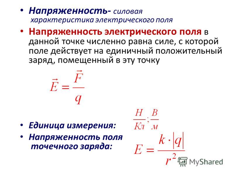 Напряженность- силовая характеристика электрического поля Напряженность электрического поля в данной точке численно равна силе, с которой поле действует на единичный положительный заряд, помещенный в эту точку Единица измерения: Напряженность поля то