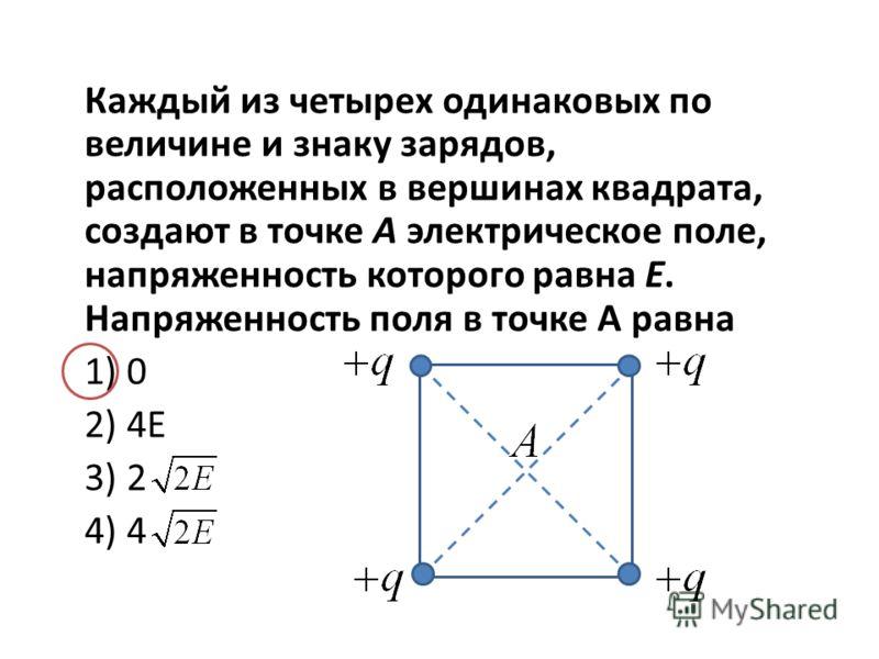Каждый из четырех одинаковых по величине и знаку зарядов, расположенных в вершинах квадрата, создают в точке А электрическое поле, напряженность которого равна Е. Напряженность поля в точке А равна 1) 0 2) 4Е 3) 2 4) 4