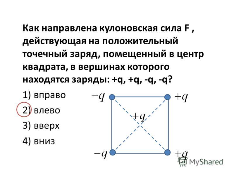 Как направлена кулоновская сила F, действующая на положительный точечный заряд, помещенный в центр квадрата, в вершинах которого находятся заряды: +q, +q, -q, -q? 1) вправо 2) влево 3) вверх 4) вниз