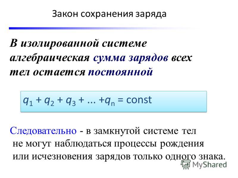 Закон сохранения заряда В изолированной системе алгебраическая сумма зарядов всех тел остается постоянной q 1 + q 2 + q 3 +... +q n = const Следовательно - в замкнутой системе тел не могут наблюдаться процессы рождения или исчезновения зарядов только