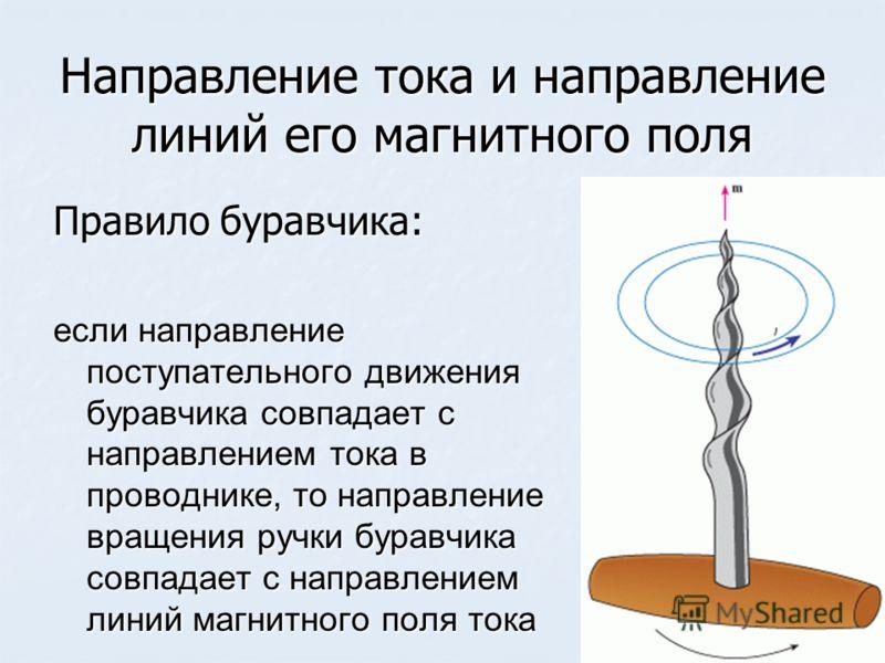 Направление тока и направление линий его магнитного поля Правило буравчика: если направление поступательного движения буравчика совпадает с направлением тока в проводнике, то направление вращения ручки буравчика совпадает с направлением линий магнитн