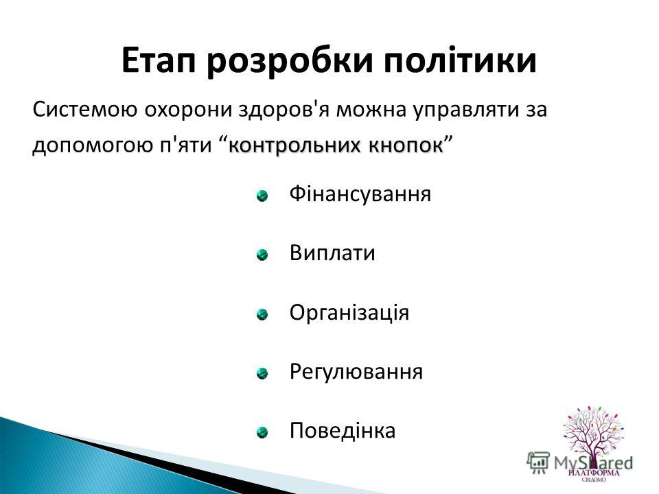 контрольних кнопок Системою охорони здоров'я можна управляти за допомогою п'яти контрольних кнопок Етап розробки політики Фінансування Виплати Організація Регулювання Поведінка