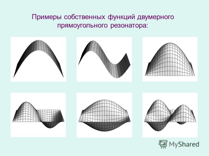 Примеры собственных функций двумерного прямоугольного резонатора: