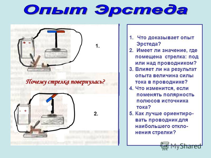 2. 1. + - 1.Что доказывает опыт Эрстеда? 2. Имеет ли значение, где помещена стрелка: под или над проводником? 3. Влияет ли на результат опыта величина силы тока в проводнике? 4. Что изменится, если поменять полярность полюсов источника тока? 5. Как л