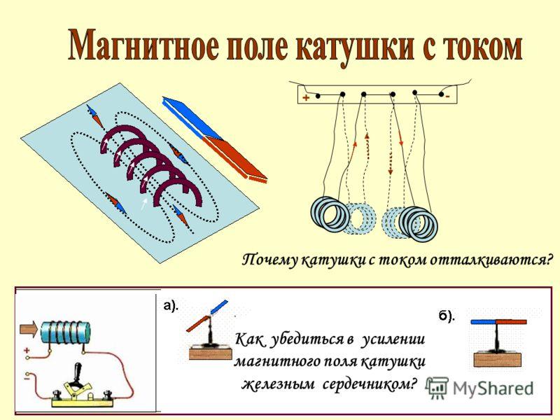 Как убедиться в усилении магнитного поля катушки железным сердечником? Почему катушки с током отталкиваются? + -