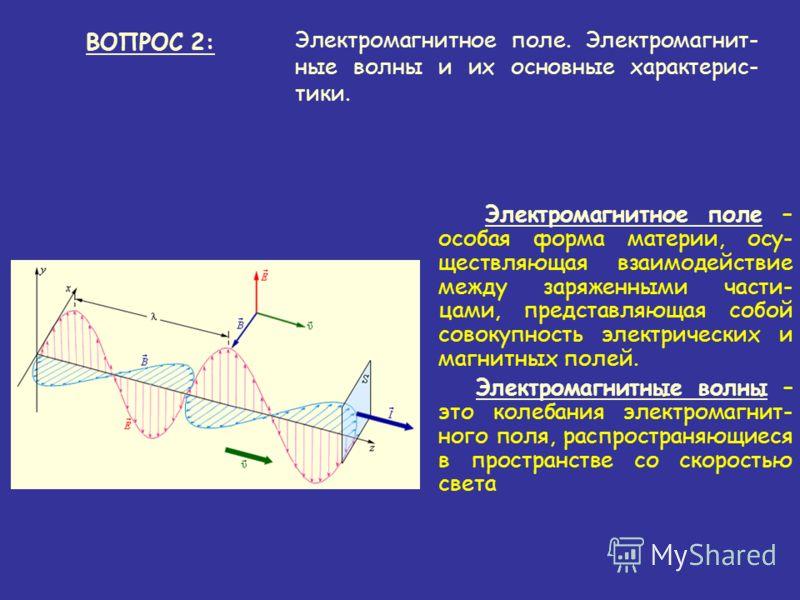 Электромагнитное поле – особая форма материи, осу- ществляющая взаимодействие между заряженными части- цами, представляющая собой совокупность электрических и магнитных полей. Электромагнитные волны – это колебания электромагнит- ного поля, распростр