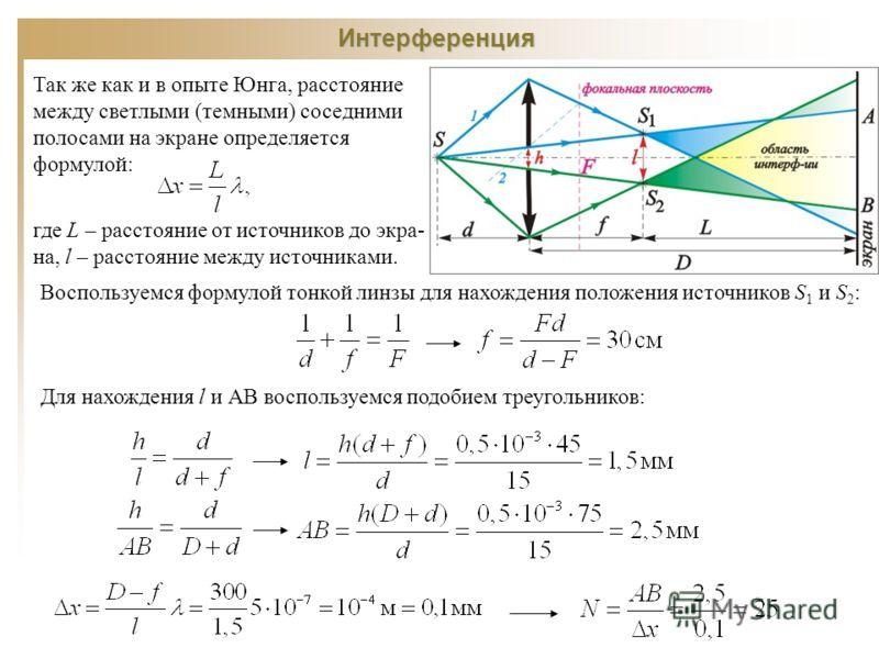 Интерференция Так же как и в опыте Юнга, расстояние между светлыми (темными) соседними полосами на экране определяется формулой: где L – расстояние от источников до экра- на, l – расстояние между источниками. Воспользуемся формулой тонкой линзы для н