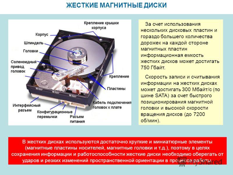 ЖЕСТКИЕ МАГНИТНЫЕ ДИСКИ За счет использования нескольких дисковых пластин и гораздо большего количества дорожек на каждой стороне магнитных пластин информационная емкость жестких дисков может достигать 750 Гбайт. Скорость записи и считывания информац