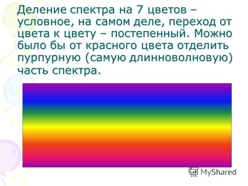 Деление спектра на 7 цветов – условное, на самом деле, переход от цвета к цвету – постепенный. Можно было бы от красного цвета отделить пурпурную (самую длинноволновую) часть спектра.