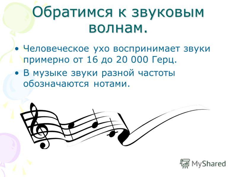 Обратимся к звуковым волнам. Человеческое ухо воспринимает звуки примерно от 16 до 20 000 Герц. В музыке звуки разной частоты обозначаются нотами.